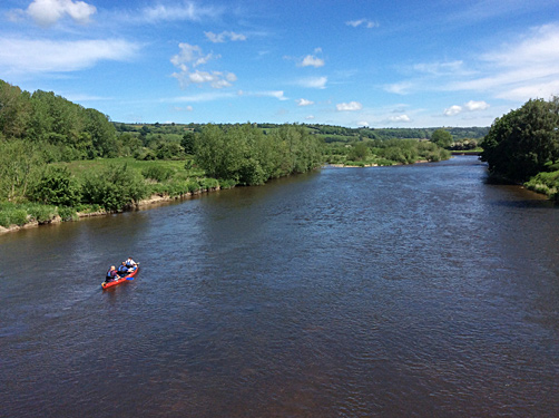 Canoeing on the River Wye at Glasbury
