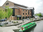 Barges on the canal outside Brecon theatre