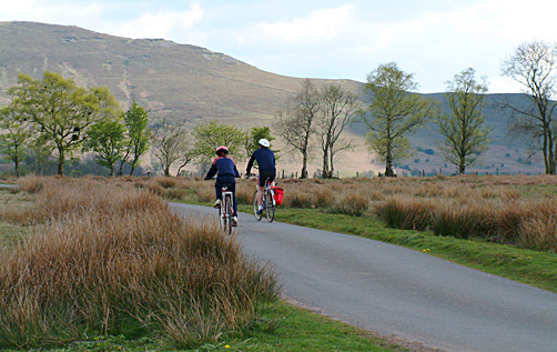 Cyclists in Mid Wales